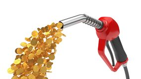 Red fuel nozzle pumping gold coins. 3d illsutration. Isolated on white Royalty Free Stock Photo