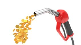 Red fuel nozzle pumping gold coins. 3d illsutration. Isolated on white Royalty Free Stock Image