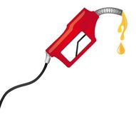 Red fuel pump. With yellow raindrops. vector illustration Stock Photo