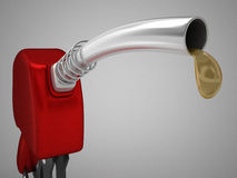 Red fuel pump and last drop. 3d high quality rendering Stock Photography
