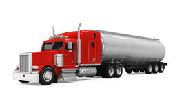 Red Fuel Tanker Truck. Isolated on white background. 3D render vector illustration