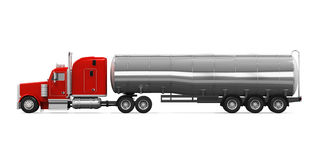 Red Fuel Tanker Truck. Isolated on white background. 3D render Stock Image