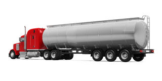 Red Fuel Tanker Truck. Isolated on white background. 3D render Royalty Free Stock Images