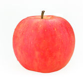 Red Fuji Apple. A fresh single red fuji apple wet surface shot against a white background Royalty Free Stock Photo