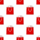 Red Full Shopping Bag Seamless Pattern Stock Photography