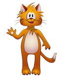 Red fun cartoon cat Stock Photo