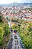 Red funicular in Graz Royalty Free Stock Image