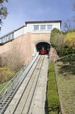 Red funicular  at the hill Stock Photography