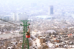 Red funicular with the view of  Almaty, Kazakhstan Stock Photography