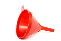 Red funnel. Plastic funnel on a white background. Horizontal position Royalty Free Stock Photography