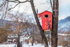 Red funny birdhouse Royalty Free Stock Images