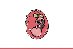 Red funny emoji face. Scary Horror. Royalty Free Stock Image