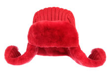 Red fur cap on a white background Royalty Free Stock Photography