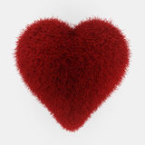Red fur heart. 3d render on white Royalty Free Stock Image