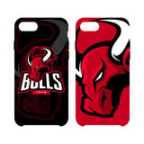 Red furious bull sport vector logo concept phone Stock Photography
