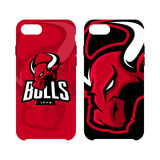 Red furious bull sport vector logo concept phone Royalty Free Stock Photography