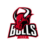 Red furious bull sport vector logo Royalty Free Stock Photos