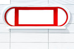 Red futuristic window on white stripped wall Royalty Free Stock Photo