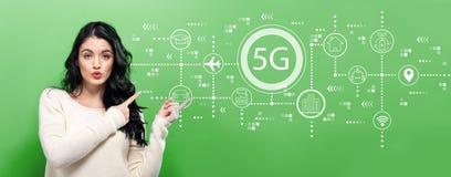red 5G con la mujer joven imagenes de archivo