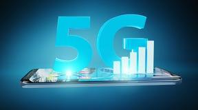 red 5G con la representación del teléfono móvil 3D Imágenes de archivo libres de regalías
