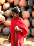 Red Gal. A beautiful Indian girl in a red dress Royalty Free Stock Image