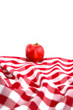 Red Gala Apple on Checkered Tablecloth Stock Photos