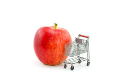 Red Gala Apple with Mini Shopping Cart Royalty Free Stock Images