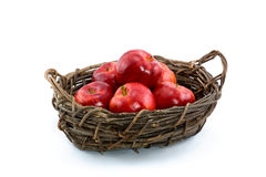 Red Gala Apples In Willow Basket Royalty Free Stock Photography