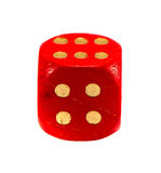 Red gamble dice isolated on white. Gold dots. Red gamble dice isolated on white background. Gold dots royalty free stock photo