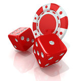 Red gambling chips and dices Stock Photo