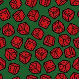 Red Gambling Dices Seamless Pattern on Green Background. Vector Stock Image