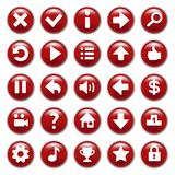 Red game buttons set Royalty Free Stock Photography
