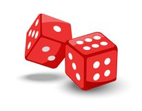 Red game dice in flight. Royalty Free Stock Images
