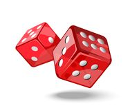 Red game dice in flight. Royalty Free Stock Photography