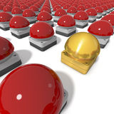 Red Gameshow Buzzers with center golden Buzzer. Parade of Red Gameshow Buzzers, One Golden Buzzer in Center, Standing Out, clean 3d rendering on white background Stock Images