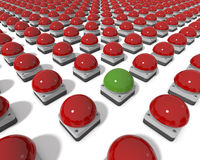 Red Gameshow Buzzers with center green Buzzer. Parade of Red Gameshow Buzzers, One Green Buzzer in Center, Standing Out, clean 3d rendering on white background Stock Images