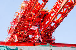 Red gantry crane Royalty Free Stock Photos