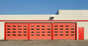 Red garage doors stock photos