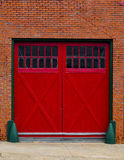 Red garage doors Stock Image