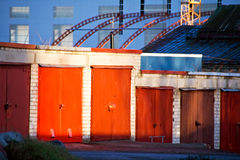Red garage doors Royalty Free Stock Images