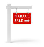 Red Garage Sale sign. Garage Sale sign with arrow symbol isolated on white background Stock Photos