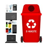 Red garbage can with e-waste elements. Vector illustration Royalty Free Stock Photos