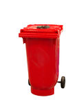 Red garbage trash bin isolated on white Royalty Free Stock Image