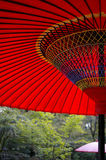 Red in the Garden. Red paper umbrellas in a Japanese garden in Kyoto royalty free stock photography
