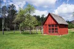 Red Garden Barn. Located on a farm in southwest Virginia, USA, next to an apple tree and grape vines Royalty Free Stock Images