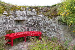 Red Garden Bench Stock Photography