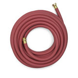 Red Garden Hose. Top View of a Red Garden Hose  on a White Background Royalty Free Stock Image