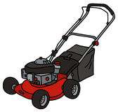 Red garden lawn mower. Hand drawing of a red garden lawn mower Stock Photos