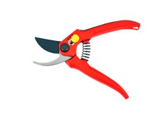 Red garden pruner. Isolated on a white background Stock Photography