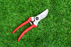 Red garden secateurs Stock Photography